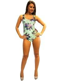 Floral Print Swimsuit Bodysuit Leotard