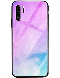 Oihxse Colorido Gradual Cristal Estilo Case Compatible con Samsung Galaxy A50/A30S/A50s Funda Vidrio Templado Trasera Carcasa Borde de Silicona Suave Protectora Ultra Fino Anti-arañazos