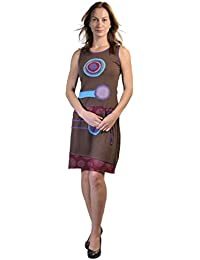 Femmes Summer Robe sans manches avec Multicolore Patch
