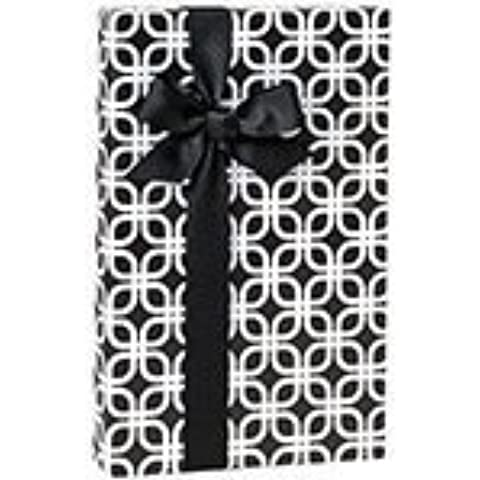 Black & White Geometric Links Geo Gift Wrap Wrapping Paper - 16ft Roll by Buttons (Bow Link)