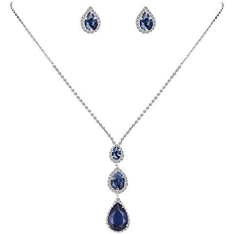 EleQueen Cristallo della CZ delle donne 3 degli orecchini della collana pendente a goccia monili di nozze insieme