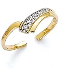 14ct Yellow Gold Diamond V Shape Toe Ring