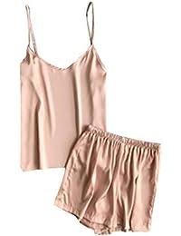 Conjunto De Lencería Mujer,Tacto Suave Y Sedoso Inicio Cuello En V Color Sólido Pijamas
