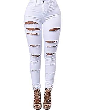 Yefree Camicia da donna a vita alta da donna Casual Fashion Elastic Stretch Skinny Denim Jeans strappati strappati...