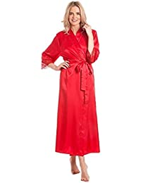 b29d54f707 Ladies Satin Robe wrap Dressing Gown Kimono Housecoat Cover up Plus Size