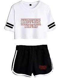 JOAYIN Niña Camiseta y Pantalones Cortos Impreso con Logo de Stranger Things Moda Encantadora Camiseta de Cintura Alta con Mangas a Rayas