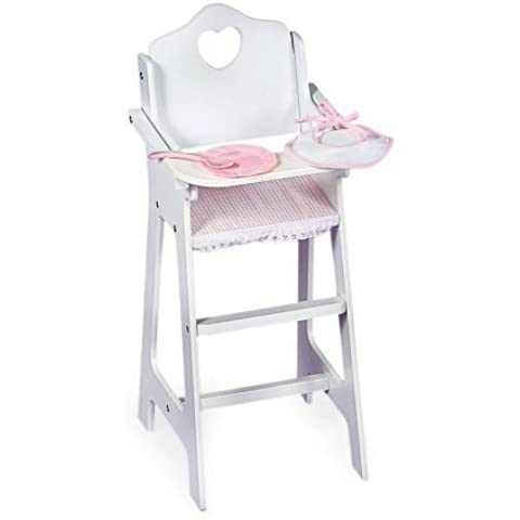 White Doll High Chair with Pink Gingham Plate, Bib, and Spoon by Badger Basket