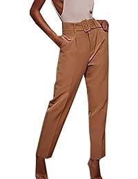 f83b98eb9c8df3 Donna Casual Nove Punti Pantalone con Cintura Pantaloni Tuta Trousers Moda  Pants a Vita Alta