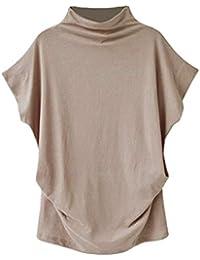 Blusas Mujer Manga Corta,Cuello Alto Color Sólido Moda Casual Suelto Camiseta Top