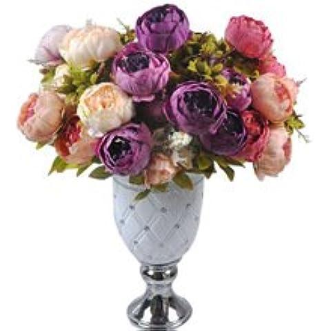 Fiori Nuova Fiori simulazione artificiale di seta di alta qualità Crisantemo Margherita 6pcs / lot tessuto fatto a mano Wedding Decoration grigio