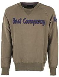 c96ba77f96754 Best Company Felpa Girocollo in Cotone Verde Militare e Blu