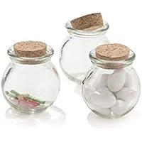 Tarro de cristal de 100 ml con tapón de corcho, portapeladillas, bombonera con pergamino
