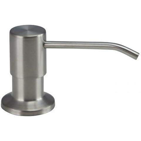 El dispensador de jabón es 100 % acero inoxidable Mizzo - 5 años de garantía - Fregadero de cocina con dispensador de lavavajillas y de jabón.