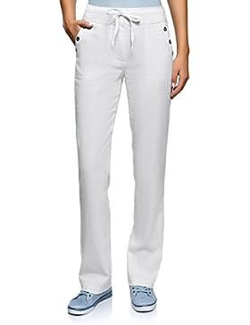 oodji Collection Mujer Pantalones de Lino con Cordones