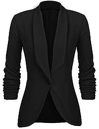 b41a7cd6a983 UNibelle Femme Veste Blazer Veste De Costume Courte Casual Slim Un Bouton  Noir Kaki