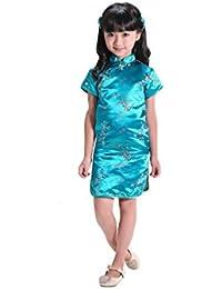 Abito bambino cinese Qipao per la ragazza modello drago o fiore da 4 a 16  anni 9d8a967f191