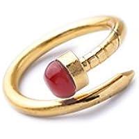 Lares Domi Vintage Gold-tone simulato rubino pietra a forma di Nail Art Deco Anello