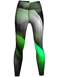Glow Leggings sehr dehnbar für Sport, Gymnastik, Training, Tanzen & Freizeit schwarz/grün