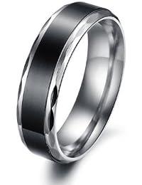 bigsoho Titanium Stainless Steel Women/Men Wedding Simple Black Couple Ring Size J 1/2,L 1/2,N 1/2,P 1/2,R 1/2,T 1/2