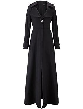 Mujer Abrigo Largo Clasico Chaqueta de Elegante Trenca Abrigo de Manga Larga Blazer con Botón