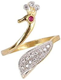 DS Gold Plated American Diamond Adjustable Ring For Women(DS220)