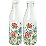 HI LUXE Printed Designer Italian Freeze Safe Air Tight Flip Cap Clear Glass Water, Milk And Juice Bottle (1000 Ml) ,Pack Of 2