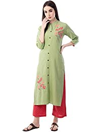 RAJMANDIRFABRICS Women's Cotton Straight Embroidered Kurta with Pant Set