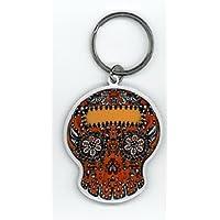 MaryAnn Luera - Orange Sugar Skull in a Fab Metal Portachiavi Keychain Individual Shrinkwrap Protective Packaging