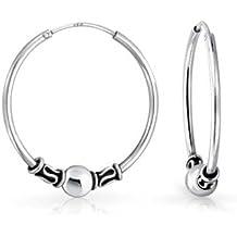 Bling Jewelry Bali Plata Esterlina bola Arete Aro in fin
