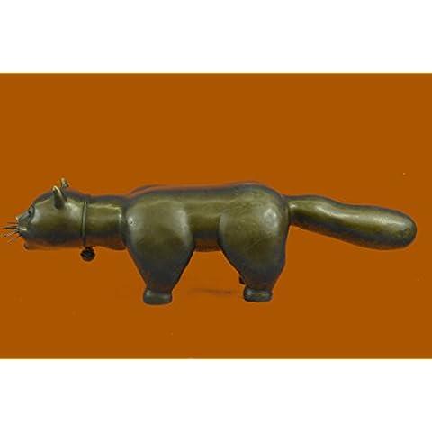 Statua di bronzo Scultura...Spedizione Gratuita...Animal Botero Cat Gato felina Grande Handcrafted(AL-395-UK)Statue Figurine Figurine Nude per ufficio e casa Décor Primo Giorno Collezionismo Articoli