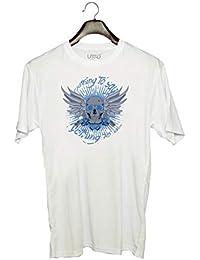 UDNAG Unisex Round Neck Graphic 'Death | Skull Gun Death & Fairy' Polyester T-Shirt (White, X-Large)