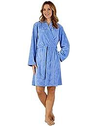 Slenderella HC3305 Womens Woven Dressing Gown Loungewear Bath Robe Kimono