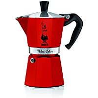 Bialetti - 9133 - Moka Color - Cafetière Italienne en Aluminium - 6 Tasses - Rouge
