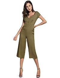 Xinwcang Femmes Casuel col V Rompers Jumpsuit Manches Courtes Partie de  Soirée Combinaisons Pantalons Elegant Slim 3b51115cf1c