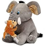 VIRSAA Cute Elephant with Naughty Monkey Soft Toy Stuffed Soft Plush Animal Toy for Kids 25 cm (Grey & Brown Color)