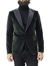 Brian Dales Giacca Invernale Elegante da Uomo Monopetto in Velluto Tinta  Unita con Rever Nero A Contrasto vestibilità… 2a4924c3b0e