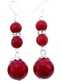 Rote Koralle & Zirkon Ohrringe mit 925 Silber Stift