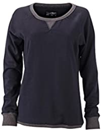 James & Nicholson Women's JN991 Basic Sweatshirt dark-navy/black-melange L