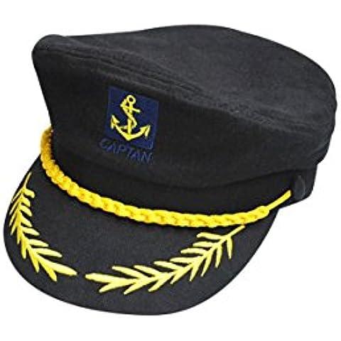 Sombrero - SODIAL(R)Gorra de Algodon de Marina Barco de Marinero Patron Capitan de Yate Sombrero de marina Disfraz Vestido de fiesta negro
