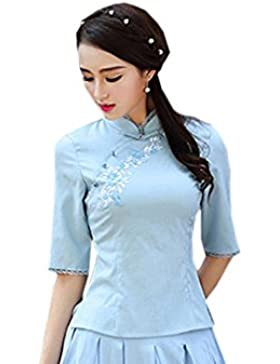 YueLian Mujeres Clásico Disfraz Oriental Camisa de Color Solido De Media Mangas Blusa de Temperamento Elegante