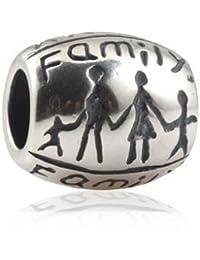 """Andante-Stones - original, plata de ley 925 sólida, cuenta de plata con la inscripción """"Family"""" (familia) tallada, elemento bola para cuentas European Beads + saco de organza"""