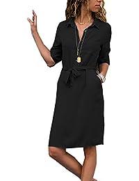 5687f5e5c5364d ZIYYOOHY Damen Casuel Hemdkleid Shirt Kleid Knielang Button Down  V-Ausschnitt Blusenkleid Mit Gürtel