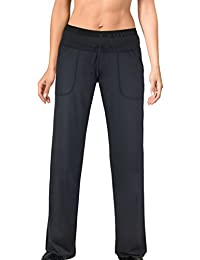 Damen Sporthose Jogginghose ideale Fitnesshose und Freizeithose lang mit breitem elastischem Gummibund, zwei Hosentaschen in schwarz von Gwinner, Modell Mirella