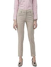 Ombre Lane Women's Beige Textured Slim Fit Trouser