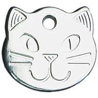 Placa identificativa para mascotas, diseño de cabeza de gato, resistente (personalizable)