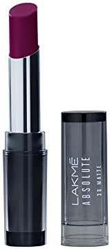 Lakmé Absolute 3D Lipstick, Purple Evening, 3.6 g