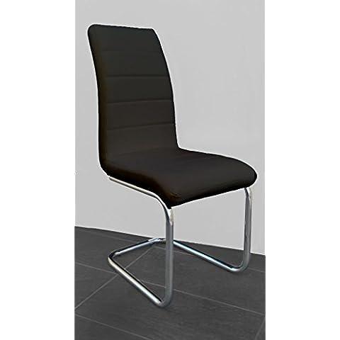 Hogar24.es-Pack 4 sillas salón comedor tapizadas en polipiel Negro