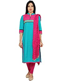Rama Suit Set Of Designer Yoke Turquoise Colour Stande Collar 3 Button On Front 3/4 Sleeve Kurta With Pink Legging...