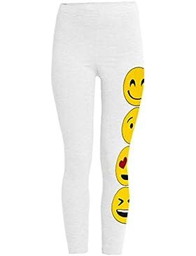 Para chicas, mallas de impresión emoji, largo hasta los pies, ajuste elástico, caras sonrientes impresas