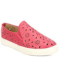 [Sponsored]My Lil Berry Dark Red Ventilated Cut-work Slip-On Shoes For Girls|Kids